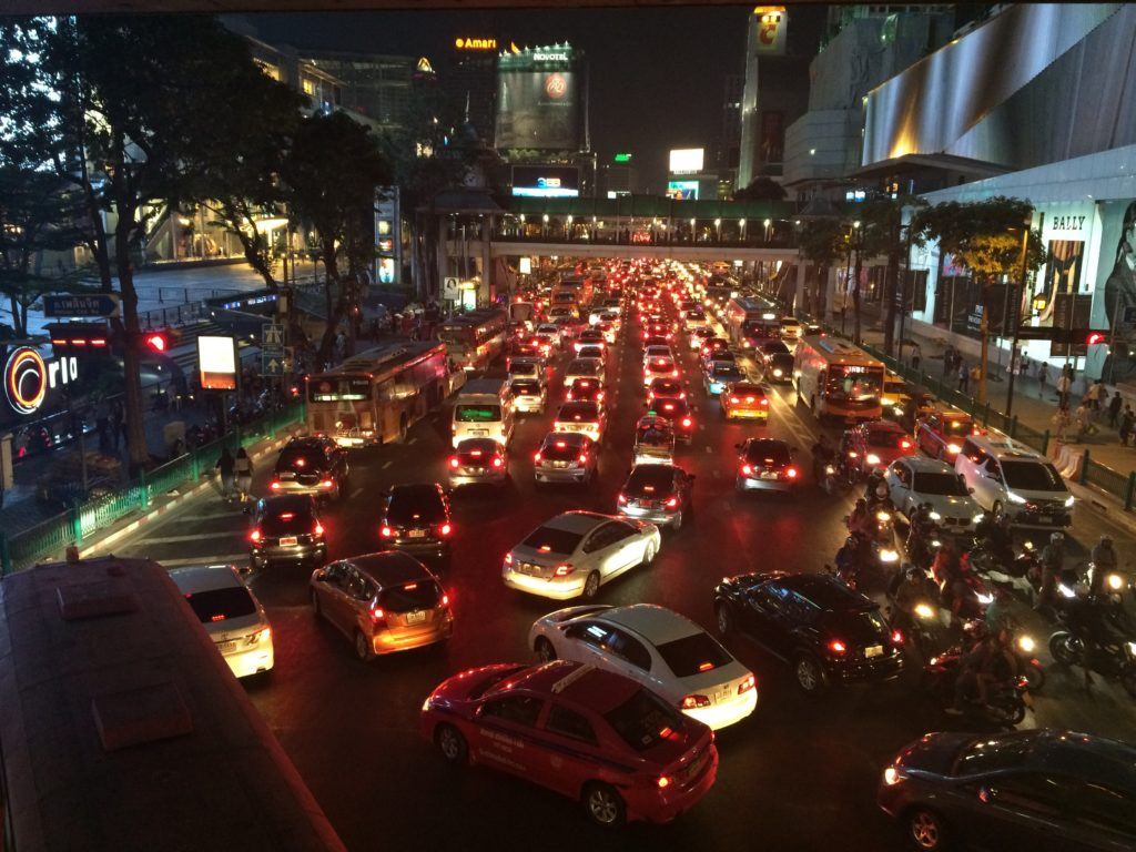 traffic jam during rush hour in siam
